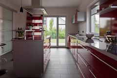 Interior of modern house kitchen Stock Photo