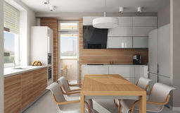 Interior of modern kitchen. Interior of modern luxury kitchen, 3D render Stock Photos