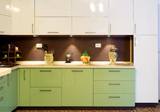 Interior of modern kitchen. Interior of modern green kitchen Stock Image