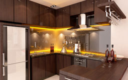 Interior of a modern kitchen. Beatiul Interior of a modern wooden kitchen Stock Photos