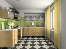 Interior of modern kitchen. 3D rendering vector illustration