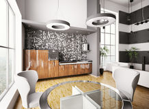 Interior of modern kitchen 3d Stock Photography