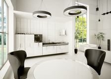 Interior of modern kitchen 3d Stock Image