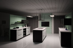 Interior of modern kitchen 3d render. Interior of modern black white kitchen 3d render Stock Image
