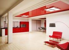 Interior of modern kitchen 3d render Royalty Free Stock Photo