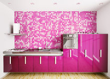 Interior of modern kitchen 3d render Stock Image