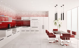Interior of modern kitchen 3d render Stock Images