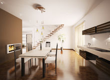 Interior of modern kitchen 3d render Stock Photo