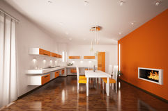 Interior of modern kitchen 3d render Royalty Free Stock Photos