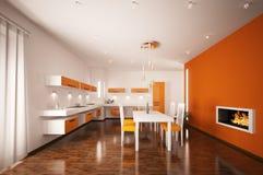 Interior of modern kitchen 3d render. Interior of modern orange kitchen with fireplace 3d render Royalty Free Stock Photos