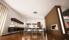 Interior of modern kitchen 3d render. Interior of modern brown kitchen with fireplace 3d render Royalty Free Stock Image