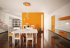 Interior of modern kitchen 3d render Stock Photo