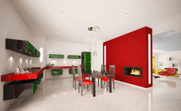 Interior of modern kitchen 3d render. Interior of modern green red kitchen with fireplace 3d render Stock Photography