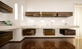 Interior of modern kitchen 3d render Stock Image