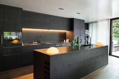 Interior, Modern kitchen royalty free stock photography