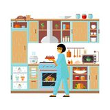 Interior modern kitchen and cooking food. vector illustration