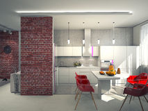 Interior of modern kitchen 3D Royalty Free Stock Photography