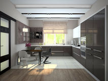 Interior of modern kitchen 3D rendering Royalty Free Stock Image
