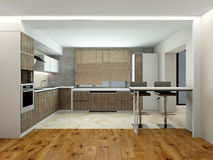 Interior of modern kitchen 3D rendering Stock Photography