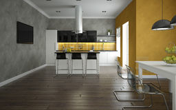 Interior of a modern kitchen and dining room Royalty Free Stock Photos