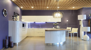Interior of modern kitchen. Exclusive design Royalty Free Stock Photography