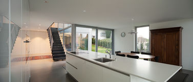 Interior, modern kitchen. Interior of a modern house, wide open space with kitchen Stock Images
