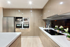 Interior of the modern kitchen in a luxury house Royalty Free Stock Images