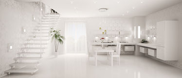 Interior of modern kitchen panorama 3d Stock Photo