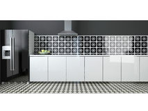 Interior of modern large black and white kitchen Stock Photography