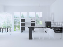 Interior of modern large citchen Royalty Free Stock Photo