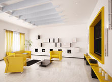 Interior of modern living room 3d render. Home interior of modern living room with LCD 3d render Royalty Free Stock Photography