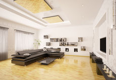 Interior of modern living room 3d render Royalty Free Stock Image