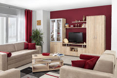 Interior of a modern living room in color Royalty Free Stock Photography