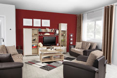 Interior of a modern living room in color. With details Royalty Free Stock Photography