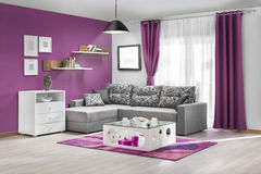 Interior of a modern living room in color Stock Images