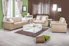 Interior of a modern living room in color Stock Image
