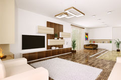 Interior of modern living room 3d Royalty Free Stock Images