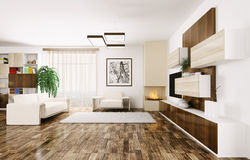 Interior of modern living room 3d Stock Image