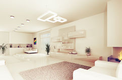 Interior of modern living room 3d Royalty Free Stock Photo
