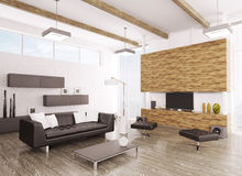 Interior of modern living room 3d Stock Photography