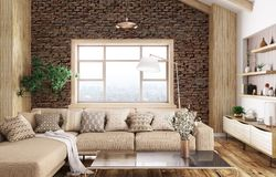 Interior of modern living room 3d rendering stock images