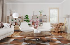 Interior of modern living room 3d rendering stock photography