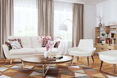Interior of modern living room 3d rendering stock image