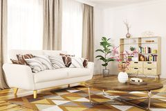 Interior of modern living room 3d rendering Royalty Free Stock Images