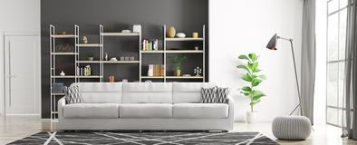 Interior of modern living room 3d rendering Stock Image