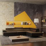 The interior of the modern living room. In light tones royalty free illustration