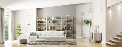 Interior of modern living room panorama 3d rendering Stock Photography