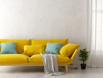 Interior of modern living room with sofa 3D rendering royalty free stock image