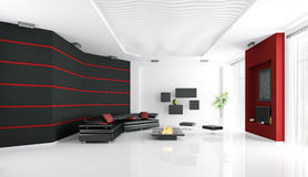 Interior of modern living room. With sofa,fireplace and tv 3d render Royalty Free Stock Photo