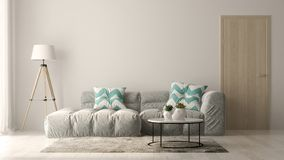 Interior of modern living room with sofa and furniture 3D rendering royalty free stock photography